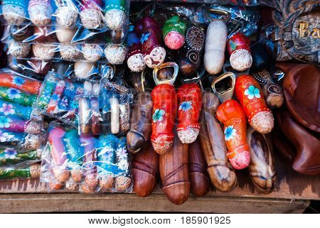 Balinese Market. Souvenir Wooden The Male Genitals, The Phallus. Bali, Indonesia.