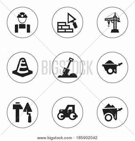 Set Of 9 Editable Building Icons. Includes Symbols Such As Handcart , Oar , Notice Object. Can Be Used For Web, Mobile, UI And Infographic Design.