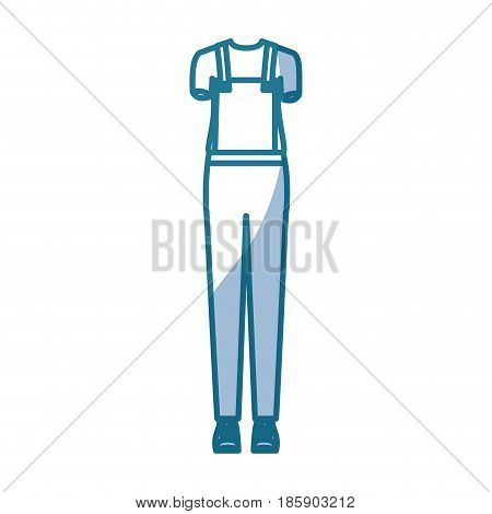 blue silhouette shading of overall woman clothing attire vector illustration