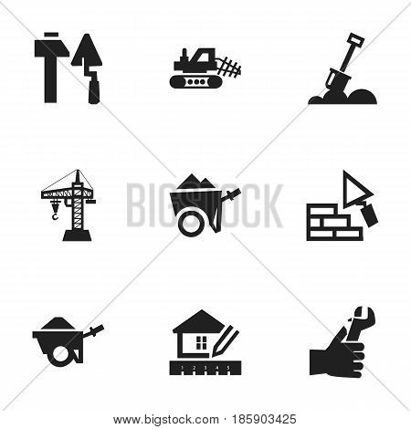 Set Of 9 Editable Construction Icons. Includes Symbols Such As Facing, Mule, Home Scheduling And More. Can Be Used For Web, Mobile, UI And Infographic Design.