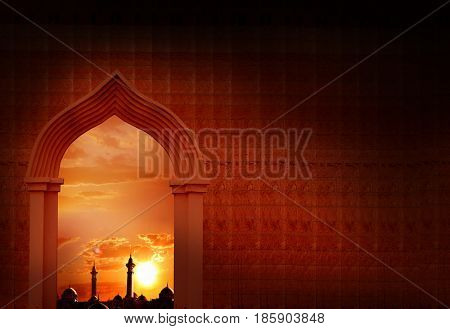 Ramadan Kareem background with  mosque arch.