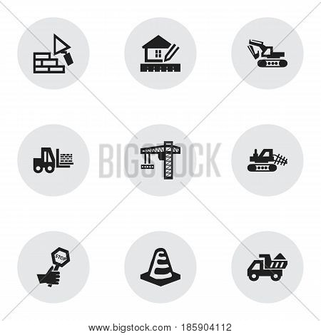 Set Of 9 Editable Building Icons. Includes Symbols Such As Mule, Notice Object, Excavation Machine And More. Can Be Used For Web, Mobile, UI And Infographic Design.
