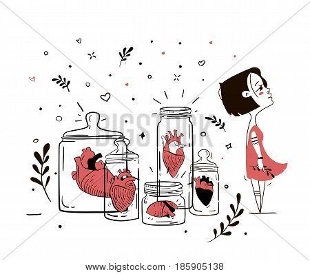 Illustration femme fatale with broken hearts. Human heart in glass jars like oligoriya finished relations. You can ispolzovat in magazines, covers, bags, T-shirts.