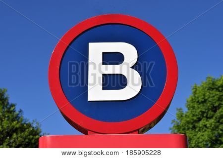 Letter B sign background at local park area