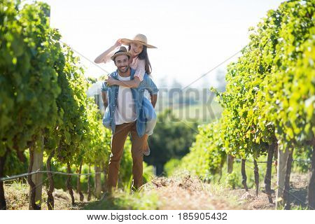 Portrait of happy couple piggybacking at vineyard during sunny day