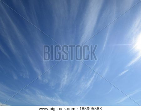 Cloudy sky. The blue sky with white cumulus clouds fantastically shaped