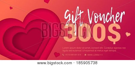 Trad gift certificate with embossed heart. Voucher with space for text and logo. Vector illustration.