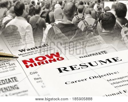 Newspaper Career Opportunity Ad with pen on people background