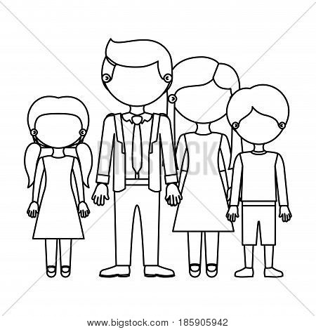 sketch silhouette faceless family group in elegant clothing and taken hands vector illustration