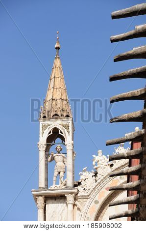 Statue inside tower. Venice in nothern Italy