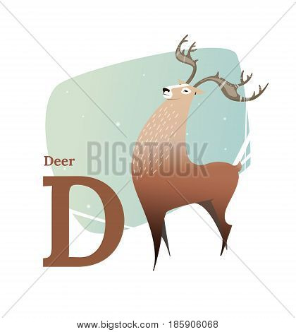 Animal alphabet vector. Flat style. Brown deer standing on the letter D. Educational glossary. Character the deer for children's books, textbooks, illustrating. Cartoon style.