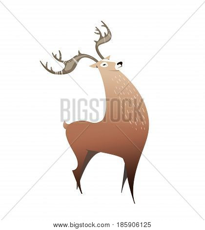 Wild deer with big horns. illustration cartoon style, simple. Deer can be used in book illustration, children's coloring books, flyers, print on a T-shirt. Vector character.