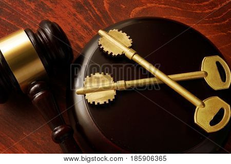 Real estate fraud concept. Gavel and keys.