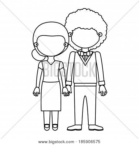 sketch silhouette faceless couple woman with collected hair and curly man with bowtie and taken hands vector illustration