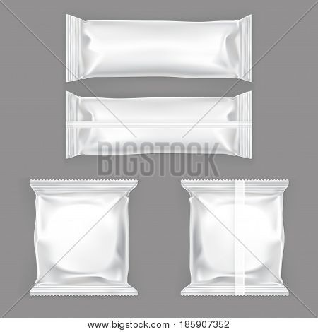 Set of vector illustrations of white plastic packing for snacks, isolated on a gray background. Mock up template, layout for branded design