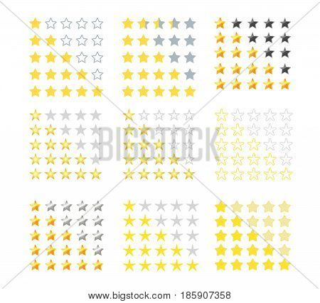 Set of 5 yellow stars rating icons. Star rating in different styles. Vector illustration. Eps10. Isolated badge for website or app