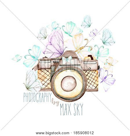 Mockup of logo with watercolor camera and butterflies, hand drawn isolated on a white background