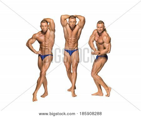 Attractive male body builder, isolated on white background. Collage