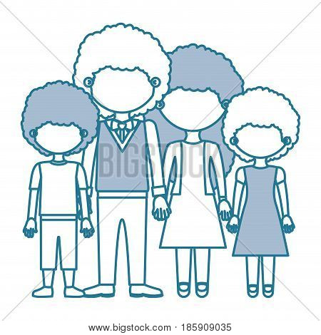 blue contour with color sections faceless curly hair family group in formal suit and taken hands vector illustration