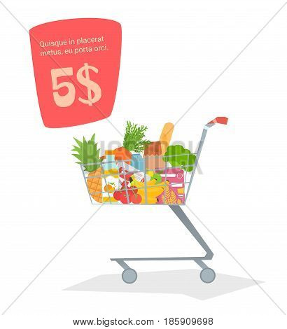 A trolley with food in the store. Products for stock simple design, there is room for text. Vector illustration.