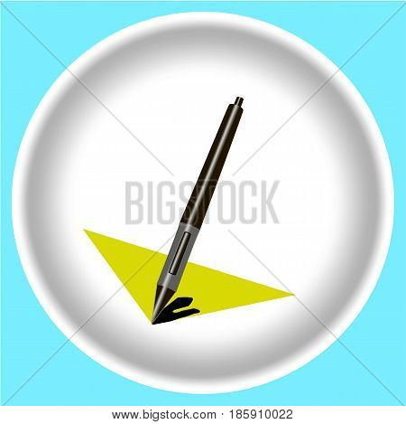 Stylus pen with shadow on white plate isolated.