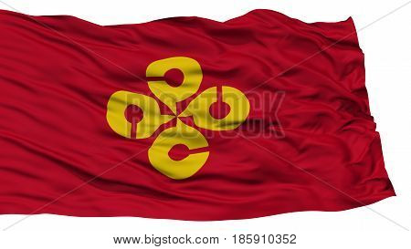 Isolated Shimane Japan Prefecture Flag, Waving on White Background, High Resolution