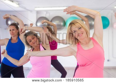 females doing dance class
