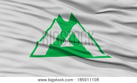 Closeup Toyama Japan Prefecture Flag, Waving in the Wind, High Resolution