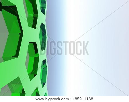 An abstract illustration a hexagonal background on the left with a white and blue center and right.