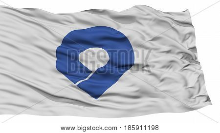 Isolated Wakayama Japan Prefecture Flag, Waving on White Background, High Resolution