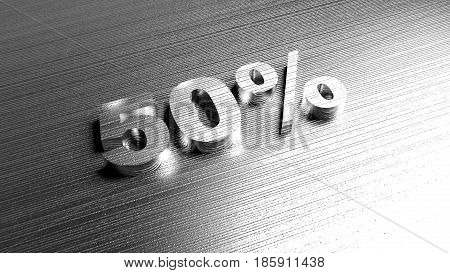 Metal word '50%' on metal surface. Discount offer. 3D Rendering.