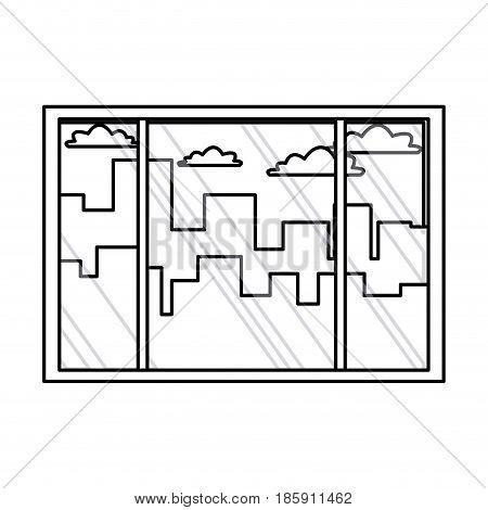 window interior building urban view outline vector illustration