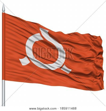 Isolated Fukushima Japan Prefecture Flag on Flagpole, Flying in the Wind, Isolated on White Background