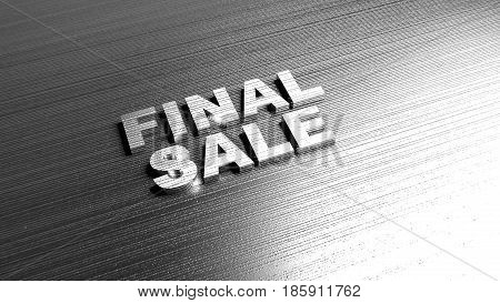 Metal words 'Final Sale' on metal surface. Discount offer. Lettering on metallic background. 3D Rendering.