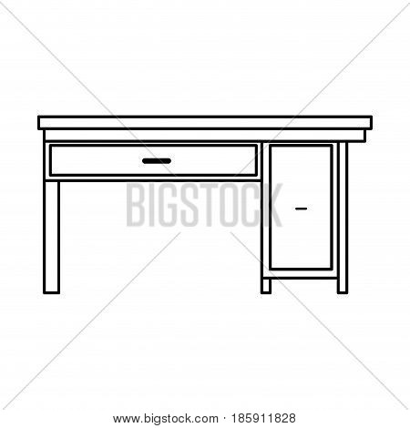 office desk wooden drawer handle furniture outline vector illustration