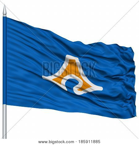 Isolated Shizuoka Japan Prefecture Flag on Flagpole, Flying in the Wind, Isolated on White Background