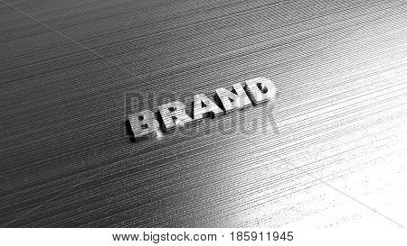 Metal word 'Brand' on abstract gray steel background. Lettering for logotypes, marketing articles and books, business tutorials. 3D Rendering.