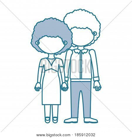 blue contour with color sections faceless curly couple taken hands vector illustration