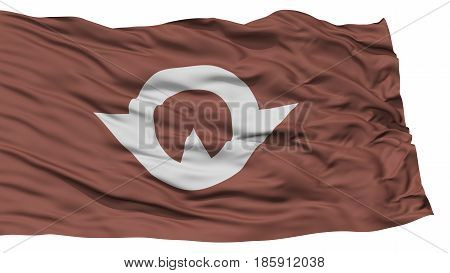 Isolated Yamaguchi Japan Prefecture Flag, Waving on White Background, High Resolution