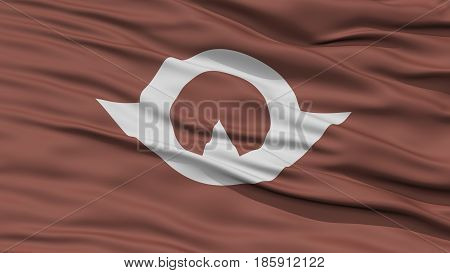 Closeup Yamaguchi Japan Prefecture Flag, Waving in the Wind, High Resolution