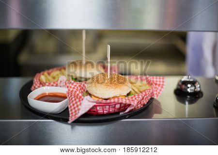 Close up of hamburgers served in plate on table
