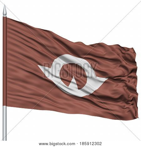 Isolated Yamaguchi Japan Prefecture Flag on Flagpole, Flying in the Wind, Isolated on White Background