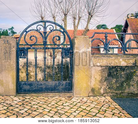 Black iron gate in Sintra in portugal