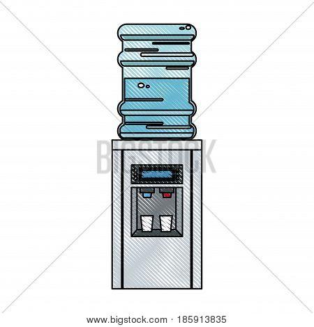 drawing bottle cooler water electric dispenser vector illustration