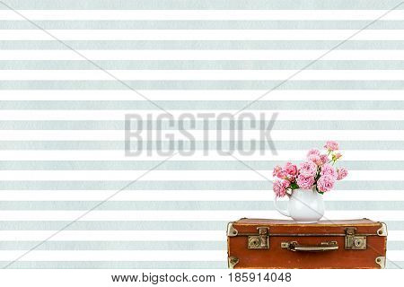 Pink Flowers In Jug On Old Brown Vintage Suitcase Roses Watercolor Blue