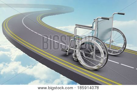 Wheelchair on a road , 3d illustration