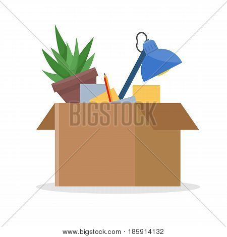Office cardboard box with stuff, documents, plant, lamp. Moving into a new office. Flat style vector illustration.