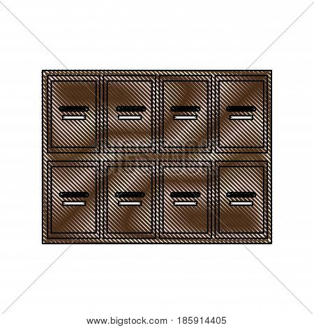 drawing locker wooden mailboxes postal image vector illustration