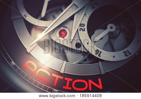Old Watch with Action on the Face, Symbol of Time. Action on Face of Automatic Men Watch, Chronograph Close Up. Time and Work Concept with Glow Effect and Lens Flare. 3D Rendering.