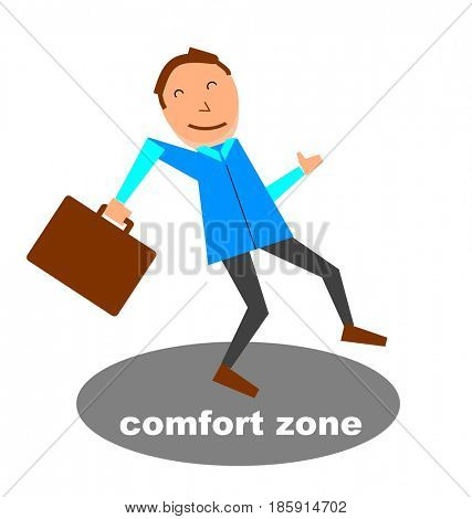 Businessman step out of comfort zone